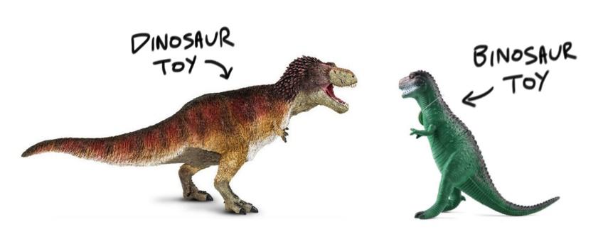 Toy dinosaur vs toy binosaur